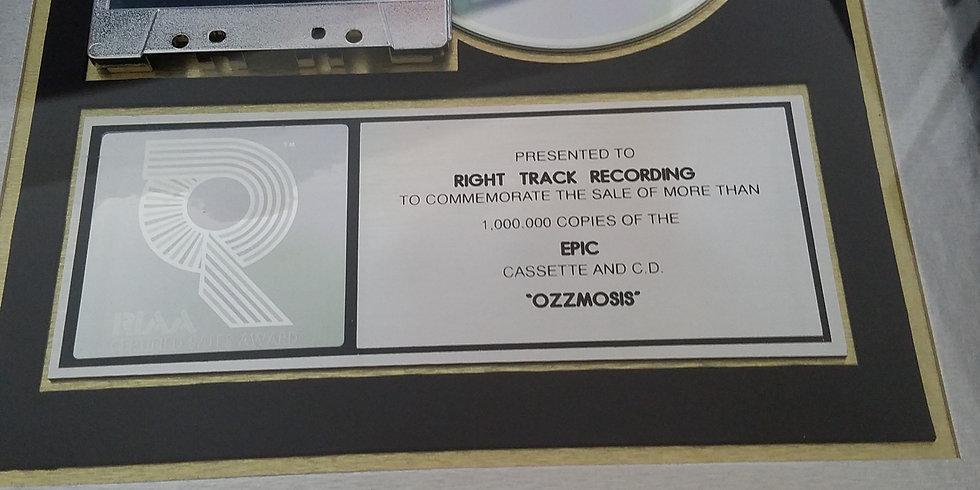 RIAA Platinum Original Award Ozzy Osbourne Award Ozzmossis in Very Goo
