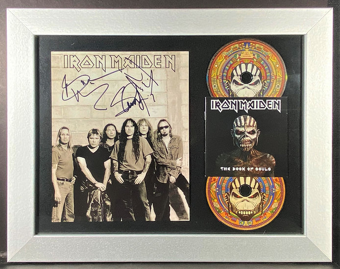 JSA Certified Iron Maiden Multi-Signed Photo/Book Of Souls Display