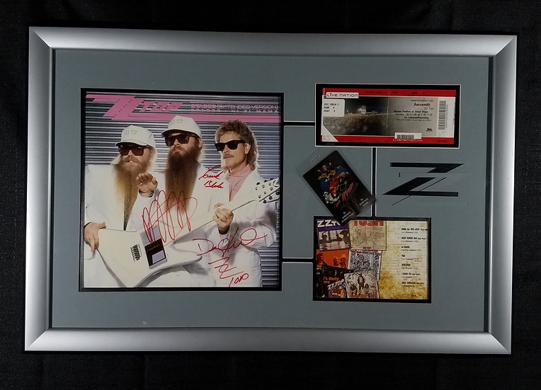 SOLD ZZ Top Signed and Framed LP, Pass, Ticket and CD Art