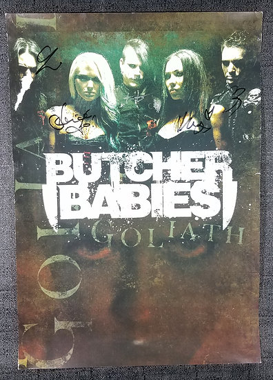 """Butcher Babies signed """"Goliath"""" poster by all 5"""