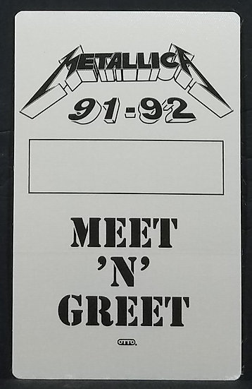 METALLICA 91-92 UNUSED Meet & Greet Word Tour Backstage Pass