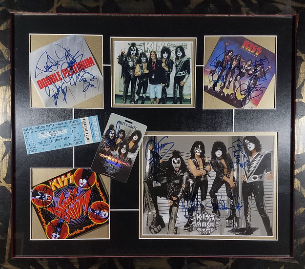 KISS framed Montage, 3 Fully Signed CD covers + Promo Picture