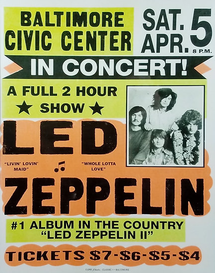 Led Zeppelin Promotional Poster Replica, Baltimore, MD Show
