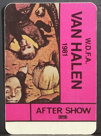 BACKSTAGE pass from VH's 1981 FAIRWARNING TOUR/Otto Backing/Authentic/Excellent