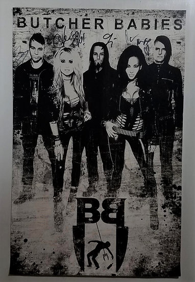 Butcher Babies signed promo poster/flat; signed by all 5