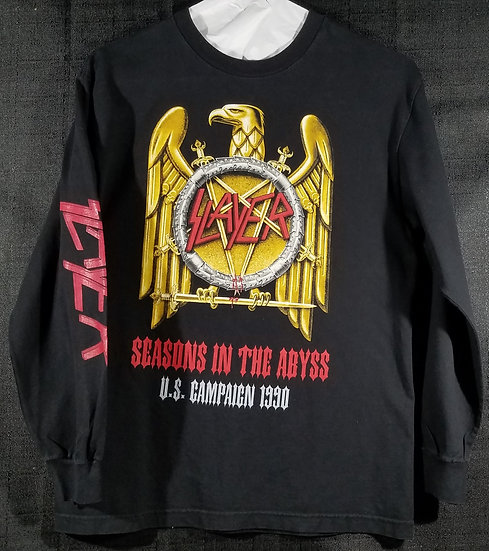 SOLD Slayer Seasons 1990 Tour Long-sleeved Size M w/Dates on Back. Lightly Used