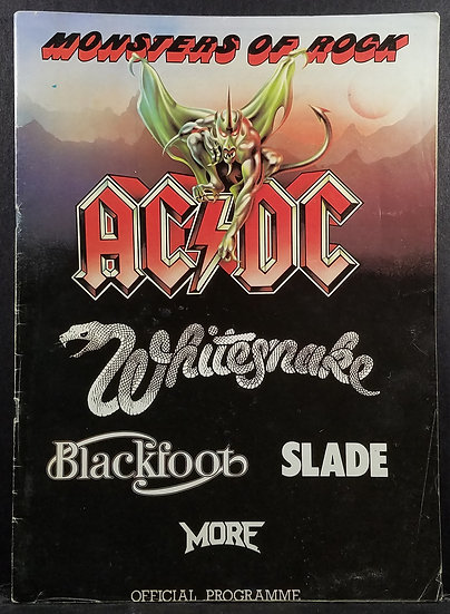 """1981 """"Monsters of Rock"""" Tour Program AC/DC + White Snake Very Good Condition"""