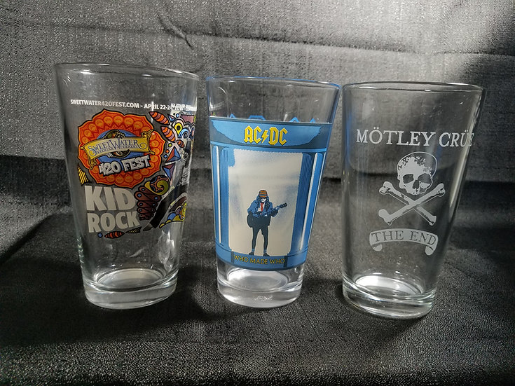 SOLD Rock-N-Roll Collectable Pint Glasses
