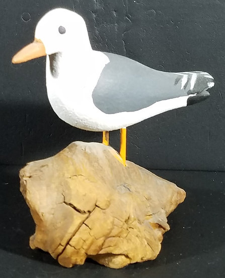 """RARE & Vintage & Signed """"Pops"""" Scarborough *OBX* Hand Carved-Painted Small Bird"""