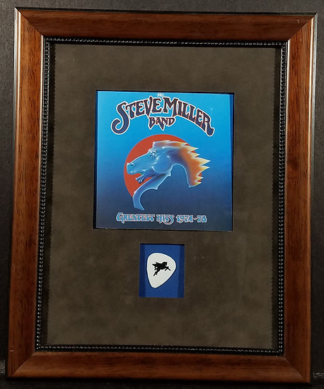 Steve Miller Beautifully Custom Framed Concert Pick & Greatest Hits CD Booklet