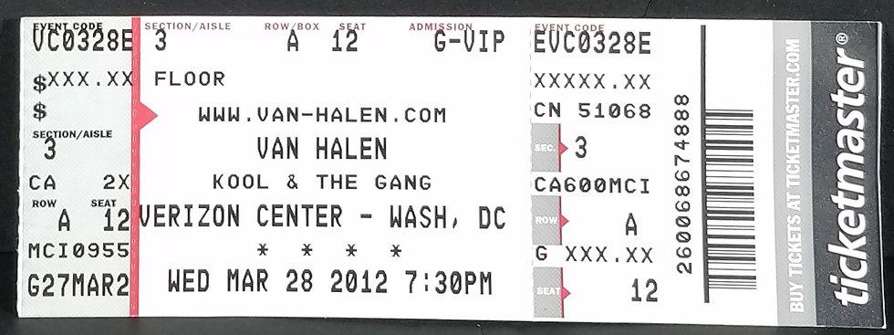Van Halen 2008 Tour Front Row Ticket, Excel. Cond.  NICE!
