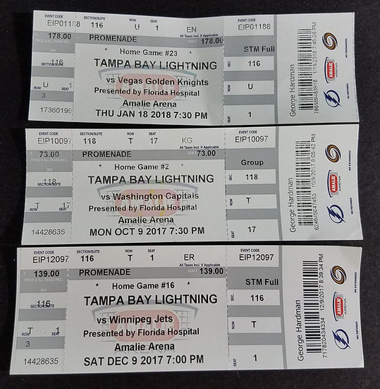 Tampa Bay Lightning 2016 – 2017 Complete Ticket Stubs