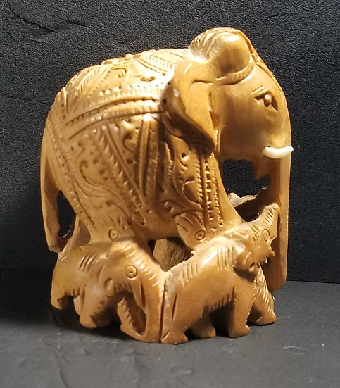 Miniature Carved Elephant from India