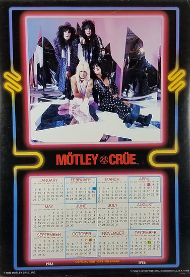 SOLD Vintage Motley Crue Calendar, 1986,Licensed and made by Funky
