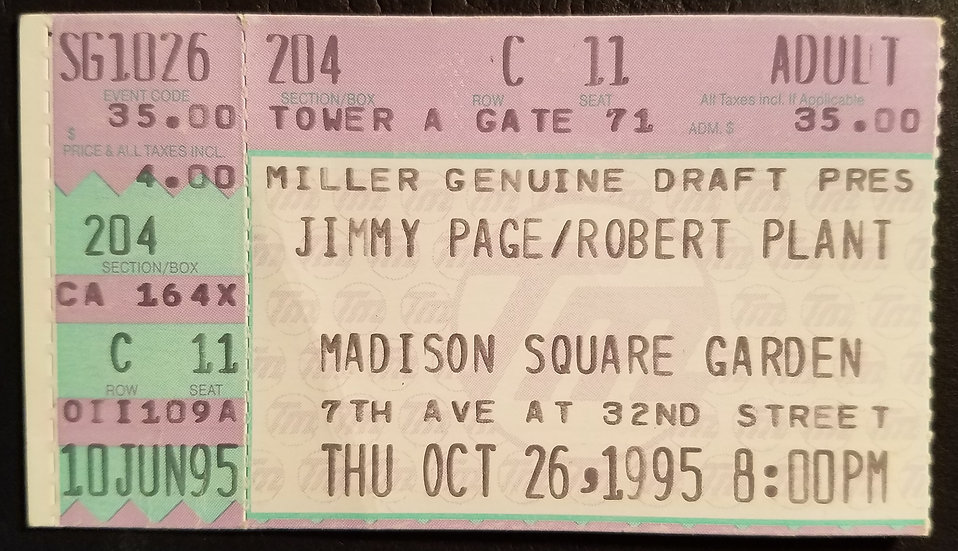 SOLD Jimmy Page/Robert Plant Concert Ticket Stub 1995, NY, Great Condition