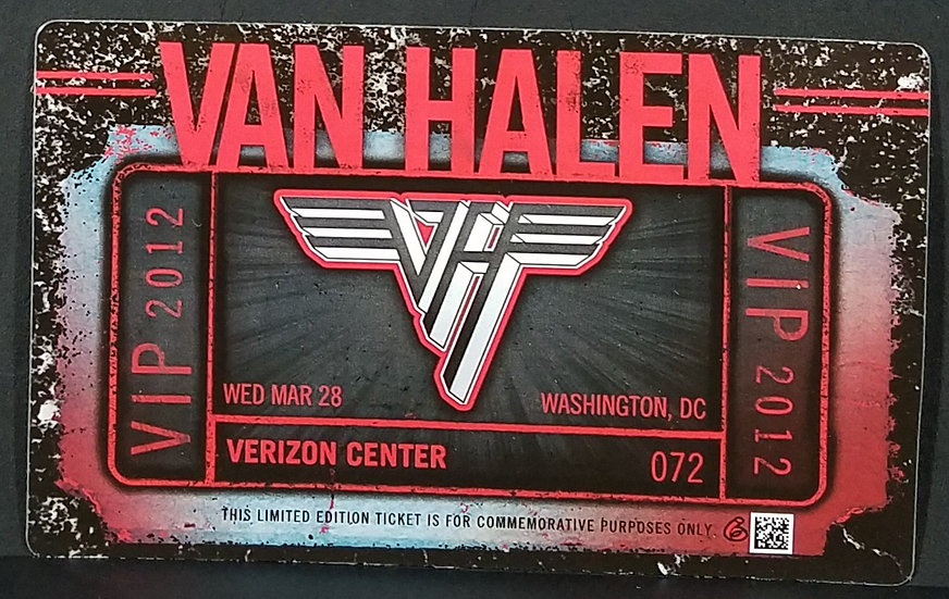 SOLD Van Halen Tour 2012 VIP Lenticular Ticket Collectible.