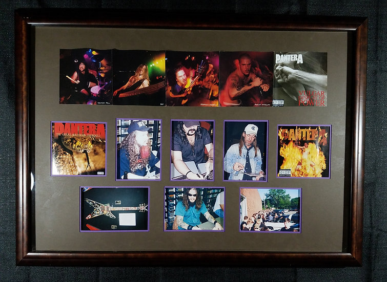 """Pantera Framed Montage signing""""Cowboys From Hell"""" LP"""