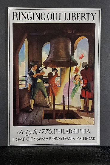 Certified Original 1933 N.C. Wyeth Philadelphia Liberty Bell Mini Poster
