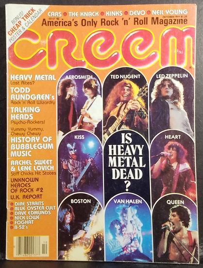 SOLD Creem Magazine October 1979 Aerosmith, Nugent & Led Zeppelin, No Label VG