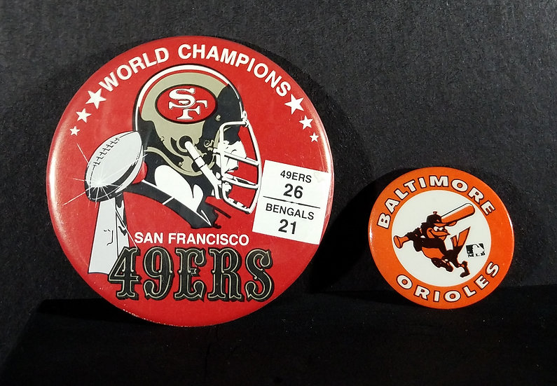 49ers Champions Pin & Orioles Vintage Pin Lot of 2