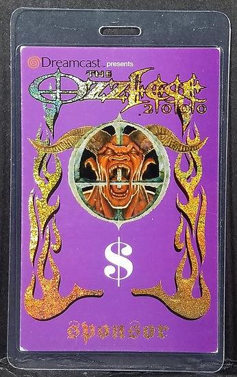 """Ozzy Osbourne """"Ozzfest 2000"""" backstage pass"""