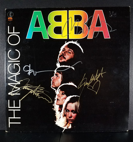 """SOLD - Abba signed LP """"The Magic Of Abba"""" by 4 original members"""
