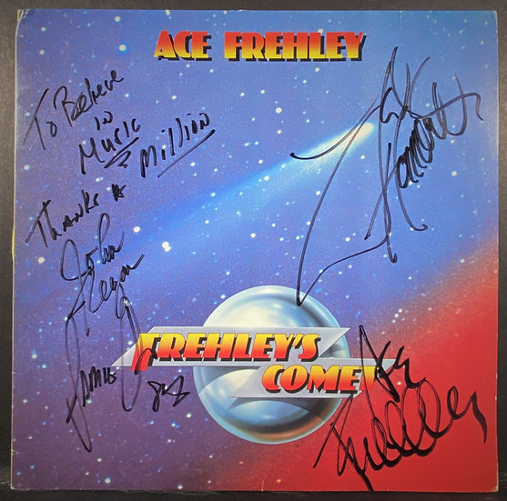 JSA authenticated KISS/Freyley's Comet FULLY autographed LP Cover