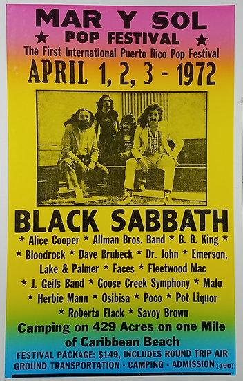 Replica Poster - Mar Y Sol Puerto Rico Pop Festival 1972 w/Black Sabbath, etc.