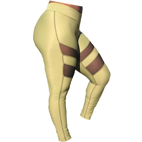 Olive Green Mesh Exercise Leggings