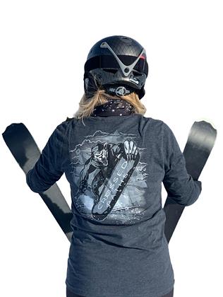 Crossed Paths Unisex Sueded Long Sleeved Top in Heather Metal - Wolf