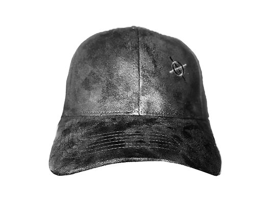 Crossed Paths Sueded Black Logo Baseball Cap
