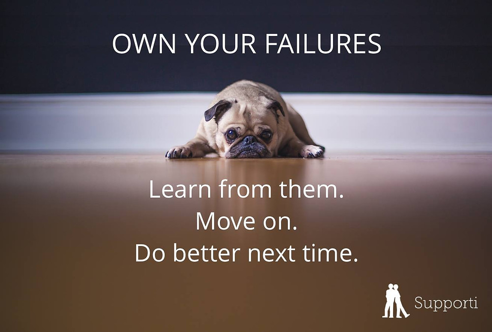 "Photograph with a sad-looking pug with the text ""own your failures. Learn from them, move on, do better next time"""