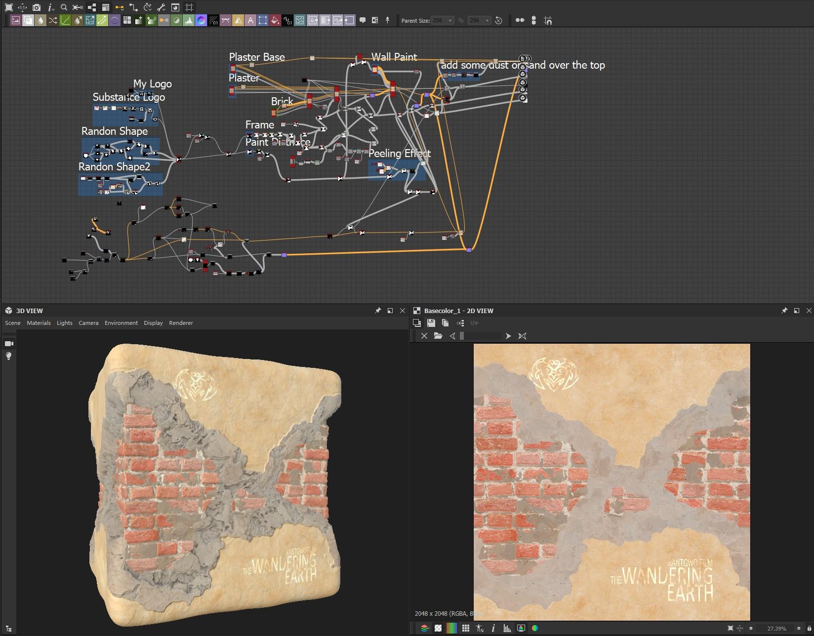 Broken Plaster and Brick node in Substance Designer