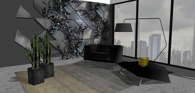 modular glass wall panels art design