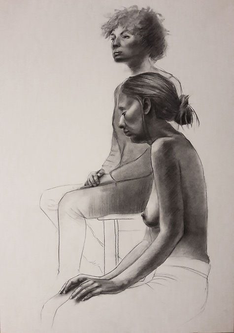 drawing charcoal on paper