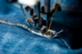 sewing indigo denim jeans with sewing ma