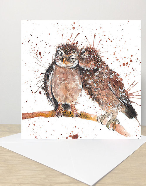 Splatter Love Owls Greeting Card