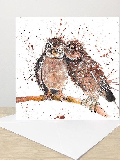 Splatter Love Owls Greeting Card