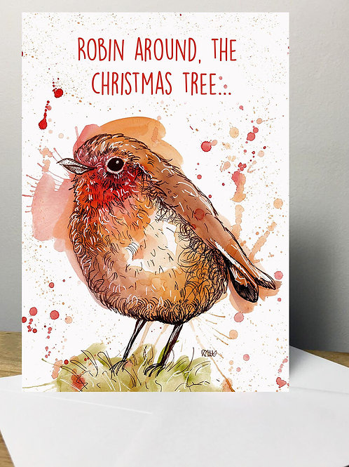 Robin Around The Christmas Tree