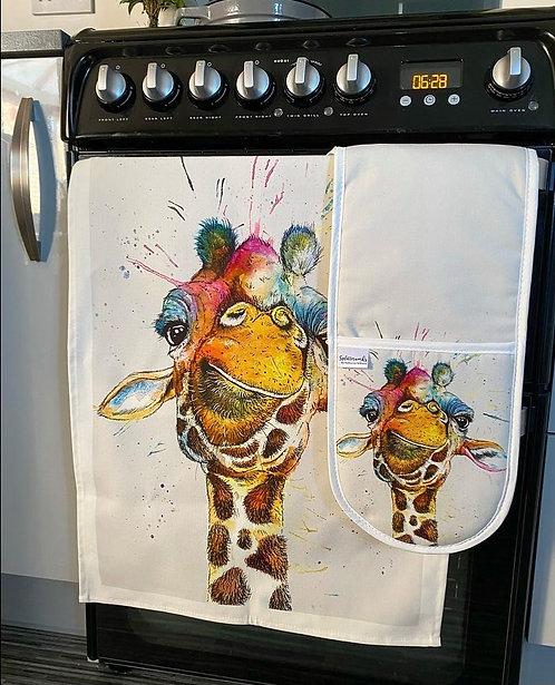 Splatter Rainbow Giraffe Oven Gloves