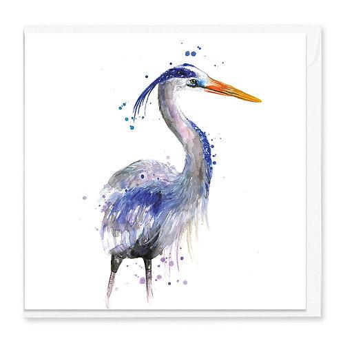Splatter Great Blue Heron Greeting Card