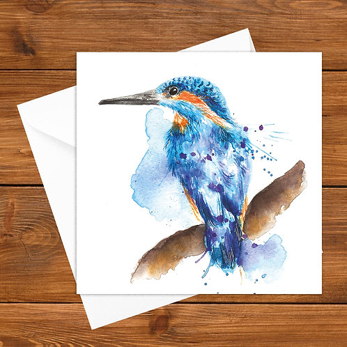 Splatter Kingfisher Greeting Card