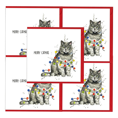 Merry Catmas Christmas Cards (5 pack)