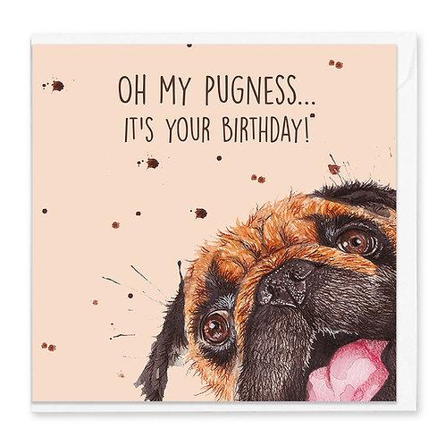 Birthday Pug Greeting Card