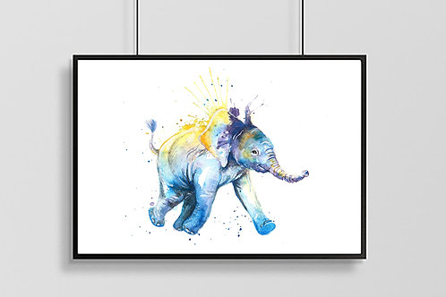 To the Watering Hole Elephant Print