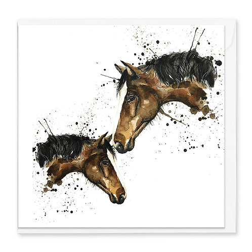 Freda and her foal Greeting Card