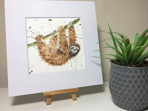 Original Watercolour Painting 'Just Hanging' Sloth