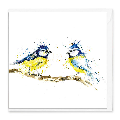 Splatter Bluetits Greeting Card
