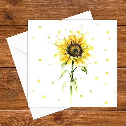 Splatter Sunflower Greeting Card