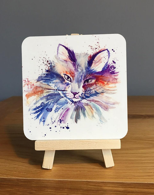 Colourful Splatter Cat Coaster